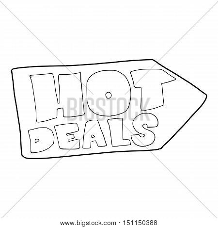 Hot deals direction sign icon. Outline illustration of vector icon for web