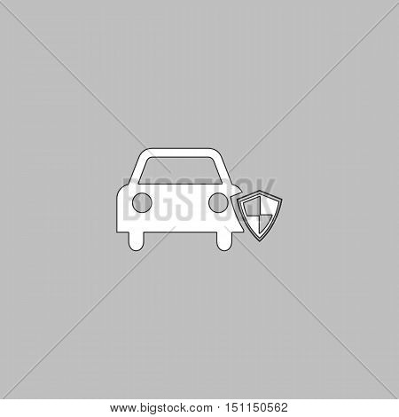 Protect car Simple line vector button. Thin line illustration icon. White outline symbol on grey background