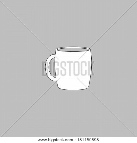 Tea cup Simple line vector button. Thin line illustration icon. White outline symbol on grey background