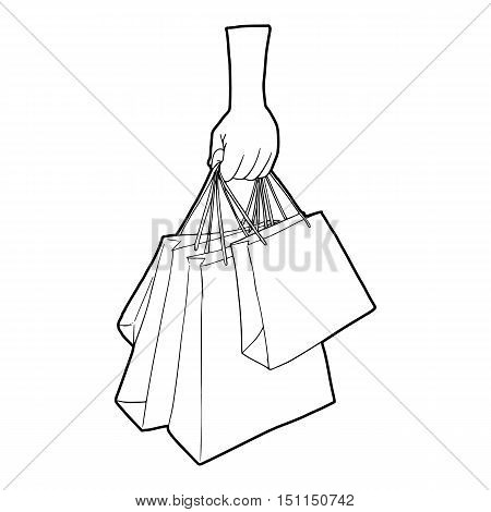 A hand holding shopping bags icon. Outline illustration of a hand holding shopping bags vector icon for web