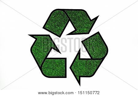 Green recycling symbol, concerning environmental protection issue