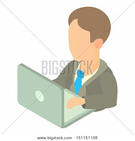 Businessman using his laptop icon. Cartoon illustration of businessman and laptop vector icon for web