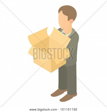Businessman holding an empty box icon. Cartoon illustration of businessman holding an empty box vector icon for web