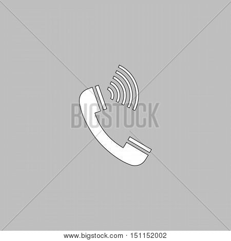 handset Simple line vector button. Thin line illustration icon. White outline symbol on grey background