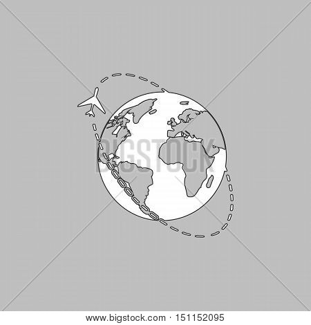 Air travel Simple line vector button. Thin line illustration icon. White outline symbol on grey background