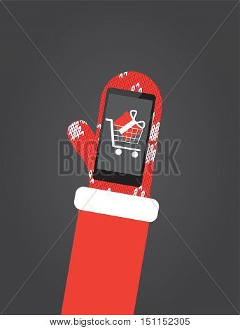 Santa's hand in red mittens hold smartphone with shopping app on screen. Flat vector illustration christmas card