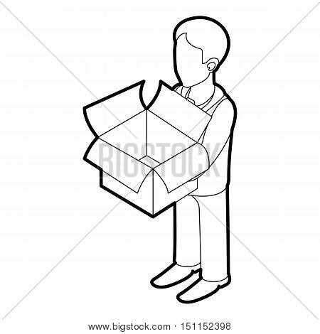 Businessman holding an outline box icon. Outline illustration of businessman holding an empty box vector icon for web