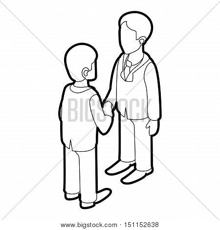 Two businessmen shaking hands icon. Outline illustration of two businessmen shaking hands vector icon for web