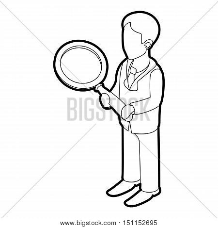 Businessman holding magnifying glass icon. Outline illustration of businessman holding magnifying glass vector icon for web