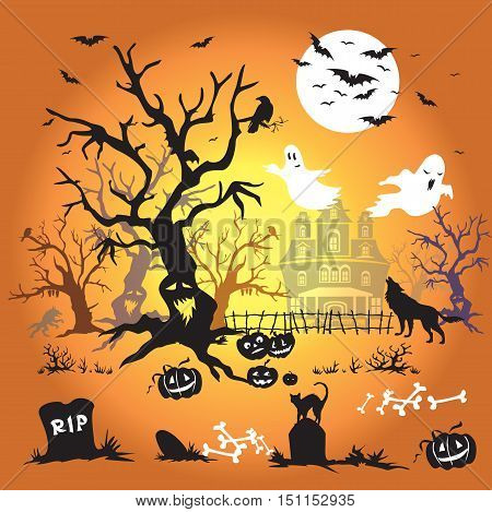 Vector Illustration:Halloween vector orange background with silhouette
