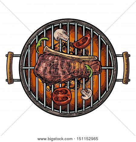 Barbecue grill top view with charcoal and beef steak. Vintage color vector engraving illustration. Isolated on white background.