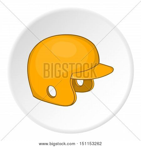 Yellow baseball helmet icon. cartoon illustration of yellow baseball helmet vector icon for web