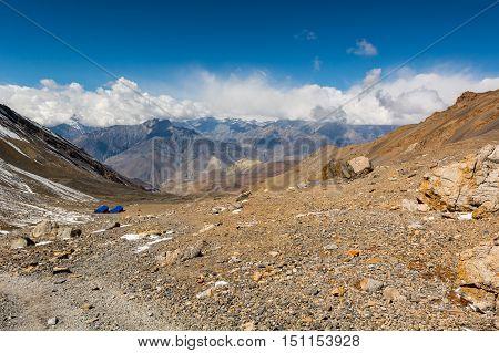 Arid highland wasteland, stone mountain desert. Muktinath region along Annapurna circuit trek.