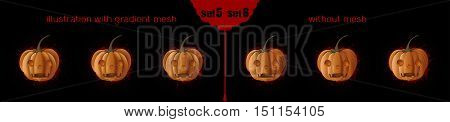 Jack o Lantern (Jack-o'-lantern) icons set 5-6. Halloween design. Pumpkins with different facial expressions. Vector illustration