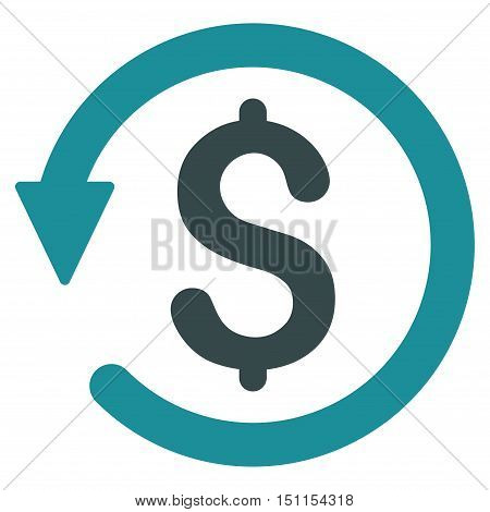 Chargeback icon. Glyph style is bicolor flat iconic symbol with rounded angles, soft blue colors, white background.