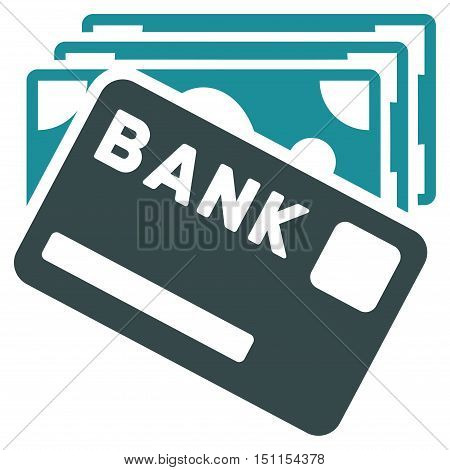 Credit Money icon. Glyph style is bicolor flat iconic symbol with rounded angles, soft blue colors, white background.