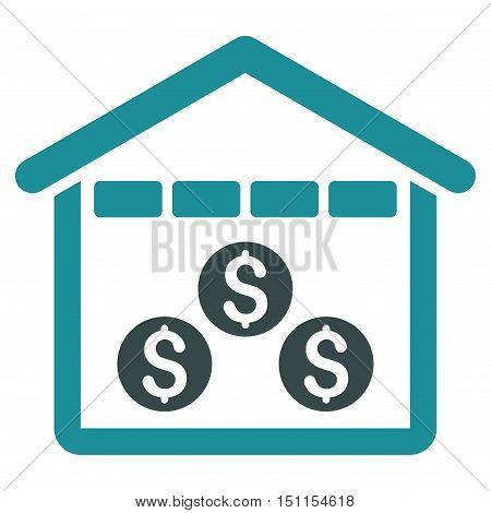 Money Depository icon. Glyph style is bicolor flat iconic symbol with rounded angles soft blue colors white background.