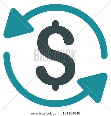 Money Turnover icon. Glyph style is bicolor flat iconic symbol with rounded angles soft blue colors white background.