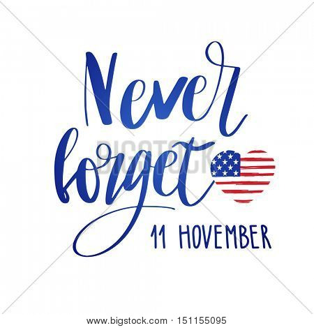 Veterans day typographic emblem. 11 november logo. Vector illustration. Design for postcard, flyer, poster, banner or t-shirt.