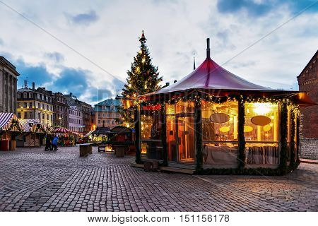 Christmas Pavilion At The Christmas Market In Riga