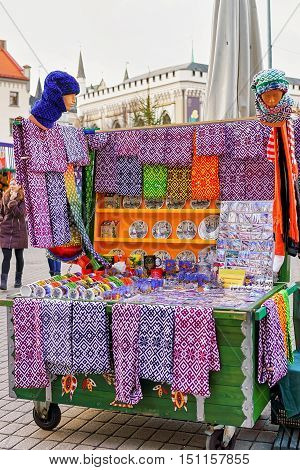 Small Kiosk With Traditional Souvenirs At The Riga Christmas Market