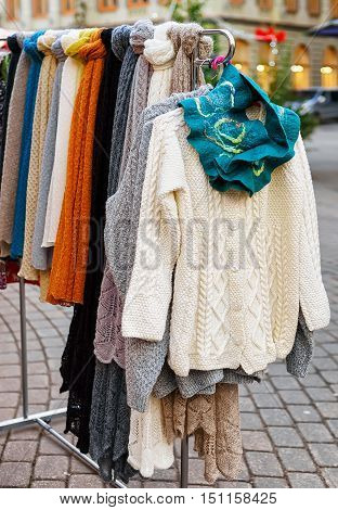 Woolen Sweater Displayed At The Christmas Market In Riga