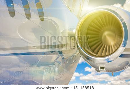 Private Jet and Engine Abstract In The Air.