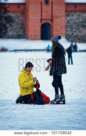 Young Girl And Fellow At Winter Rink In Trakai Lithuania