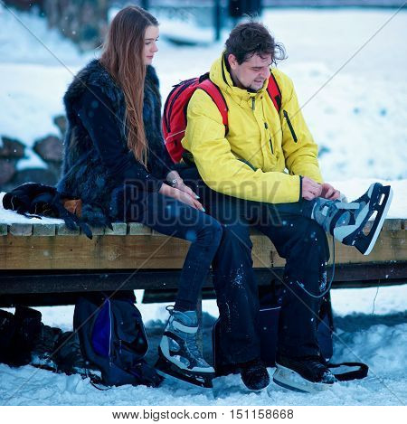 Young Girl And Fellow Wearing Skates In Trakai Of Lithuania