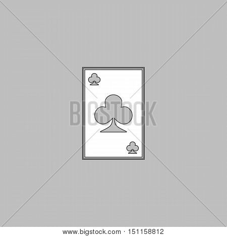 Clubs card Simple line vector button. Thin line illustration icon. White outline symbol on grey background