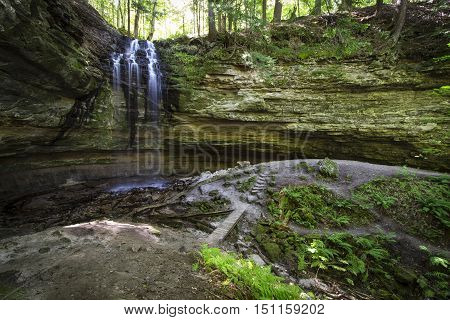 Enchanted Waterfall Forest. Tannery Falls in Michigan's Upper Peninsula. Munising, Michigan.