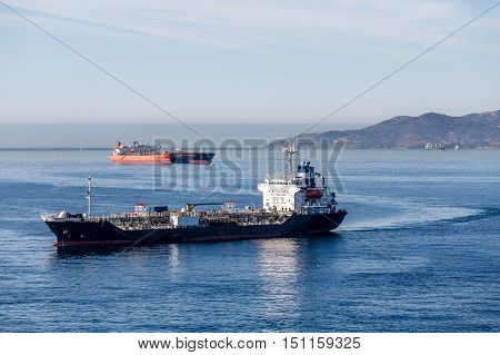 Huge tankers in the harbor of Gibralter between Spain and Morocco