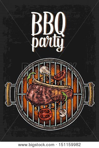 Barbecue grill top view with charcoal, mushroom, tomato, pepper and beef steak. Lettered text BBQ party. Vintage color vector engraving illustration. Isolated on white background.