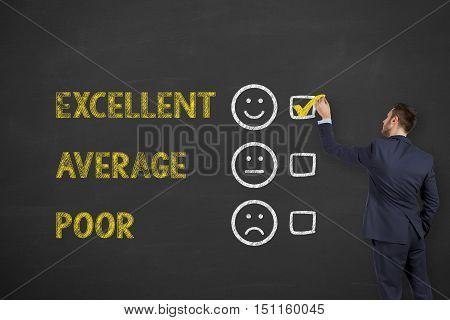 Excellent Customer Service Evaluation Form Drawing on Chalkboard