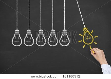 Concept of idea and innovation with light bulb on blackboard