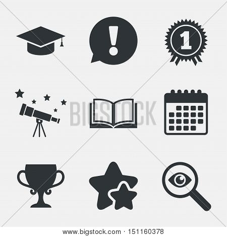 Graduation icons. Graduation student cap sign. Education book symbol. First place award. Winners cup. Attention, investigate and stars icons. Telescope and calendar signs. Vector