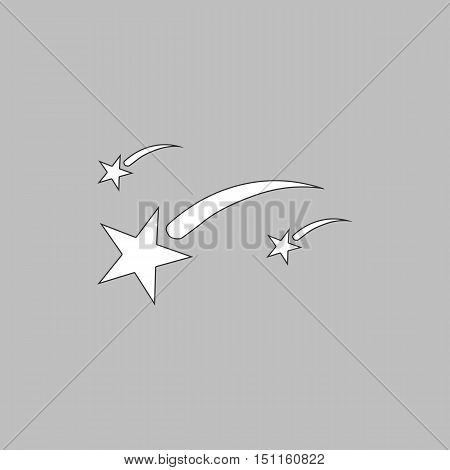 Stars Simple line vector button. Thin line illustration icon. White outline symbol on grey background