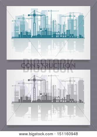 Vector horizontal banners with city skyline constructions, with reflections. Illustration divided on layers for create parallax effect