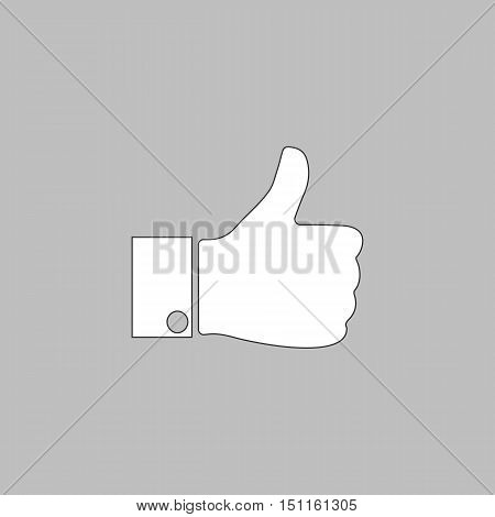 Like Simple line vector button. Thin line illustration icon. White outline symbol on grey background