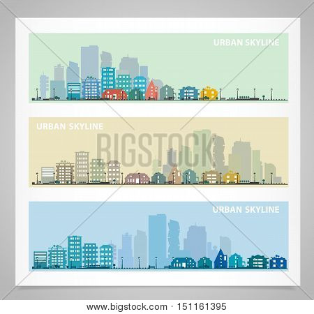 Cityscape sets with various parts of a city. Small towns or suburbs and downtown silhouettes. Illustration divided on layers for create parallax effect