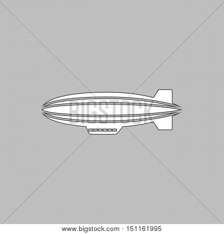 blimp Simple line vector button. Thin line illustration icon. White outline symbol on grey background