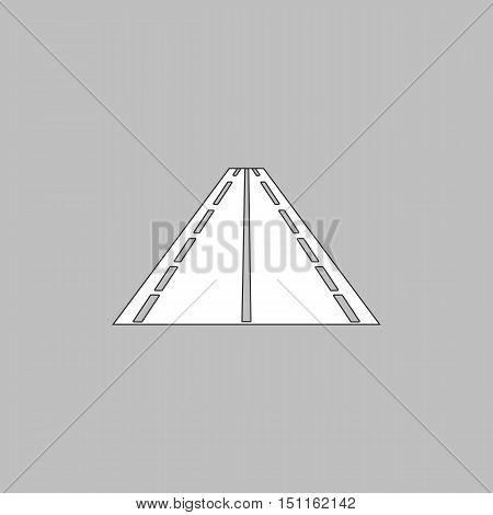 Road Simple line vector button. Thin line illustration icon. White outline symbol on grey background