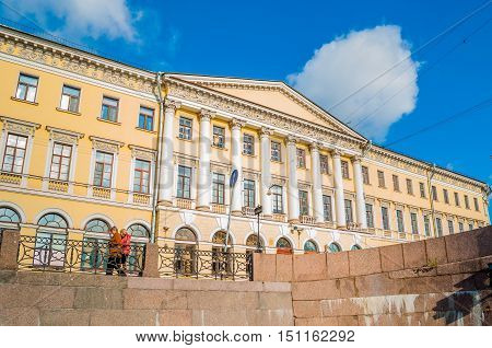 SAINT PETERSBURG RUSSIA - OCTOBER 3 2016. Adamini House built in Saint Petersburg Russia- one of the most important buildings of Domenico Adamini Russian engineer and architect of Swiss origin