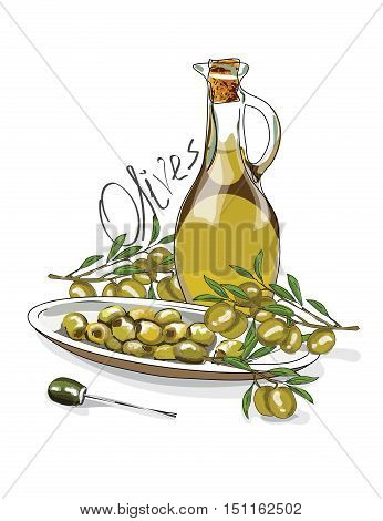 Illustration For The Book. Seamless Pattern. A Jar With Olive Oil. The Branches Of The Olive. Postca