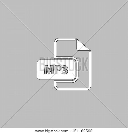 MP3 Simple line vector button. Thin line illustration icon. White outline symbol on grey background poster