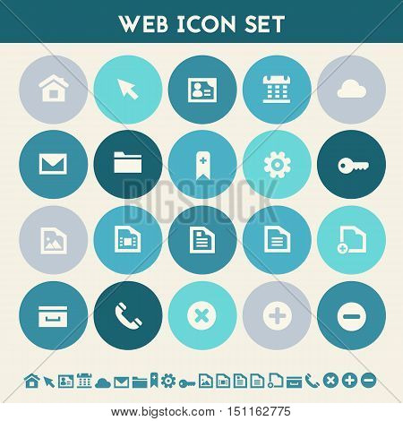 Modern flat design multicolored web icons collection