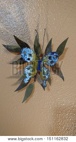 Iron Butterfly with copper leaves home décor