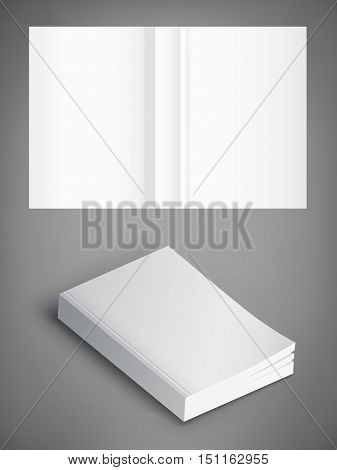 Realistic vector blank of paperback cover book. Template for your design. Grayscale Mockup.