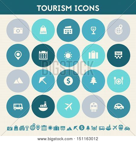 Modern flat design multicolored tourism icons collection
