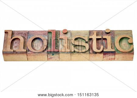 holistic word - isolated text in letterpress wood type